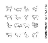 farm animals thin line icons... | Shutterstock . vector #514766743