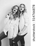 two beautiful girls in men... | Shutterstock . vector #514766878