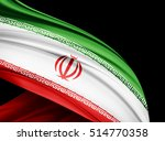 iran flag of silk with... | Shutterstock . vector #514770358