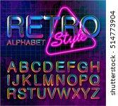 80's retro alphabet font.... | Shutterstock .eps vector #514773904