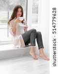 beautiful woman with cup of... | Shutterstock . vector #514779628
