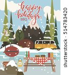 happy holidays card with winter ... | Shutterstock .eps vector #514783420