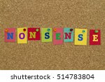 Small photo of Nonsense word written on colorful sticky notes pinned on cork board.