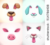 Cartoon Animal Face Items. Dog...
