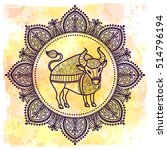 taurus. zodiac sign. freehand... | Shutterstock .eps vector #514796194