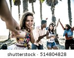 happy friends on the beach | Shutterstock . vector #514804828