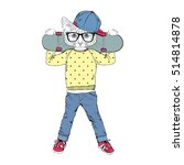 funny kitten boy with... | Shutterstock .eps vector #514814878