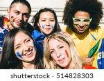 group of mixed football fans | Shutterstock . vector #514828303