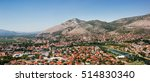 Panoramic landscape Montenegro. View from the top of the mountain. Panoramic Landscape Of Mountain. city.