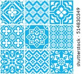 decorative blue and white tile... | Shutterstock .eps vector #514830349