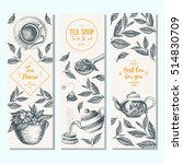 tea shop banner set.  vertical  ... | Shutterstock .eps vector #514830709