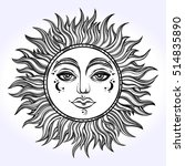 Bohemian Hand Drawn Sun. Vecto...