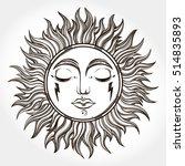 bohemian hand drawn sun. vector ... | Shutterstock .eps vector #514835893