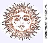 bohemian hand drawn sun. vector ... | Shutterstock .eps vector #514835896
