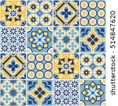 decorative blue and yellow tile ... | Shutterstock .eps vector #514847620