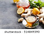 Cup Of Tea With Ginger Root An...