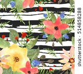 illustration of floral seamless.... | Shutterstock . vector #514858288