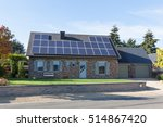 modern house with solar panels... | Shutterstock . vector #514867420