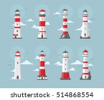 set of vector ligth house... | Shutterstock .eps vector #514868554