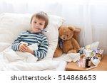 Sick Child Boy Lying In Bed...