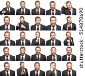 mosaic of businessman... | Shutterstock . vector #514870690