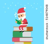cartoon santa claus reading book | Shutterstock .eps vector #514879048