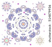 abstract snowflakes set.... | Shutterstock . vector #514879936