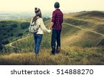 people rear view top mountain... | Shutterstock . vector #514888270