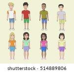 vector young men and girls... | Shutterstock .eps vector #514889806