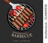 barbecue ribs and grill...   Shutterstock .eps vector #514890958