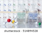 Small photo of Acid and Base chemistry with solutions of ammonium hydroxide and hydrochloric acid.