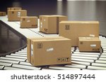 box on conveyor roller. 3d... | Shutterstock . vector #514897444