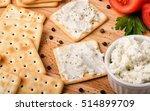 crackers with cream cheese on a ... | Shutterstock . vector #514899709