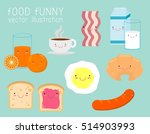 set of funny breakfast  food...   Shutterstock .eps vector #514903993