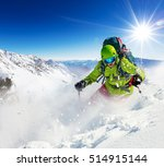 freeride skier with rucksack... | Shutterstock . vector #514915144