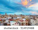 skyline of valencia at sunset... | Shutterstock . vector #514919488