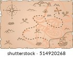 illustration of a pirate map... | Shutterstock .eps vector #514920268