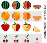 vector set fruits and berries.... | Shutterstock .eps vector #514922164