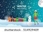 funny winter holidays. vector... | Shutterstock .eps vector #514929409