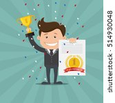 business man holding up winning ... | Shutterstock .eps vector #514930048