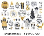 christmas set  hand drawn style ... | Shutterstock .eps vector #514930720