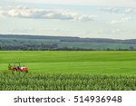 small red farm tractor on a... | Shutterstock . vector #514936948