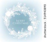Christmas Wreath On A Blue...