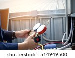 technician is checking air... | Shutterstock . vector #514949500