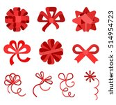 flat red gift bows of ribbon... | Shutterstock .eps vector #514954723