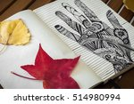 doodle hand and autumn leaves.... | Shutterstock . vector #514980994
