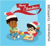 boy reading comic and christmas ... | Shutterstock .eps vector #514999288