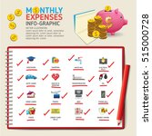 monthly expenses infographics...   Shutterstock .eps vector #515000728
