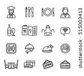restaurant icons set. line... | Shutterstock .eps vector #515003413