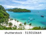 beach and coconut trees on an... | Shutterstock . vector #515010664